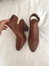 Pair of brown leather heeled boots size 8 Garner, 27529