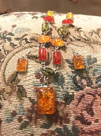 brown and red gemstone studded silver pendant Falls Church, 22041