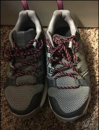 Pair of gray-and-maroon adidas sneakers