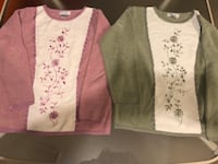 Deep Pink and Deep Green Sweaters with same colored Embroidered Flowers-Size: Medium-$5 each Beavercreek, 45432