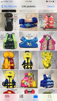 Life jackets and swim vest. Price and size vary