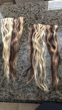Real hair extensions 18inches never used! Side and back pieces Vaughan, L0J 1C0