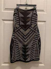 Black gold and silver strapless dress size small