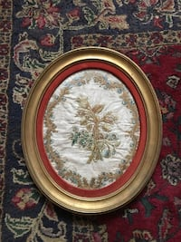 Silk Embroidery on Linen, 18th Century, gold oval frame Springfield, 22150
