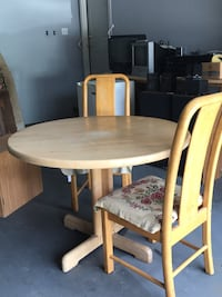"41"" Diameter, Round Table Butcher Block table and two chairs"