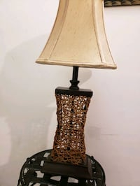 Brown wooden base with beige lampshade table lamp Mississauga, L5M 0A5