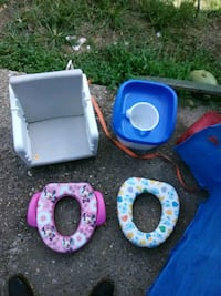 three blue, pink, and white plastic containers Bastrop, 71220