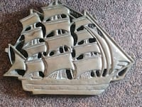 Vintage Solid Brass 6x8 Ship Fort Thomas
