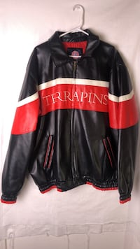 MARYLAND TERRAPINS LEATHER JACKET Black and red leather zip-up jacket Silver Spring, 20903
