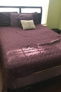 Bed, side table, box spring and mattress