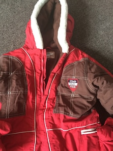 red, white and brown Club Guest Club zip up hoodie