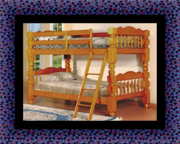 Wooden twin bunkbed frame with 2 mattress