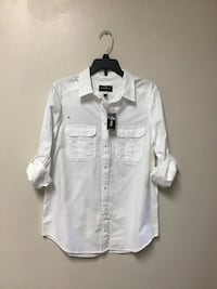 Women's/juniors EXPRESS white button down button up sleeves size-XS