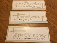 three rectangular  brown Yesterday, Today, and Tomorrow text wooden wall decor