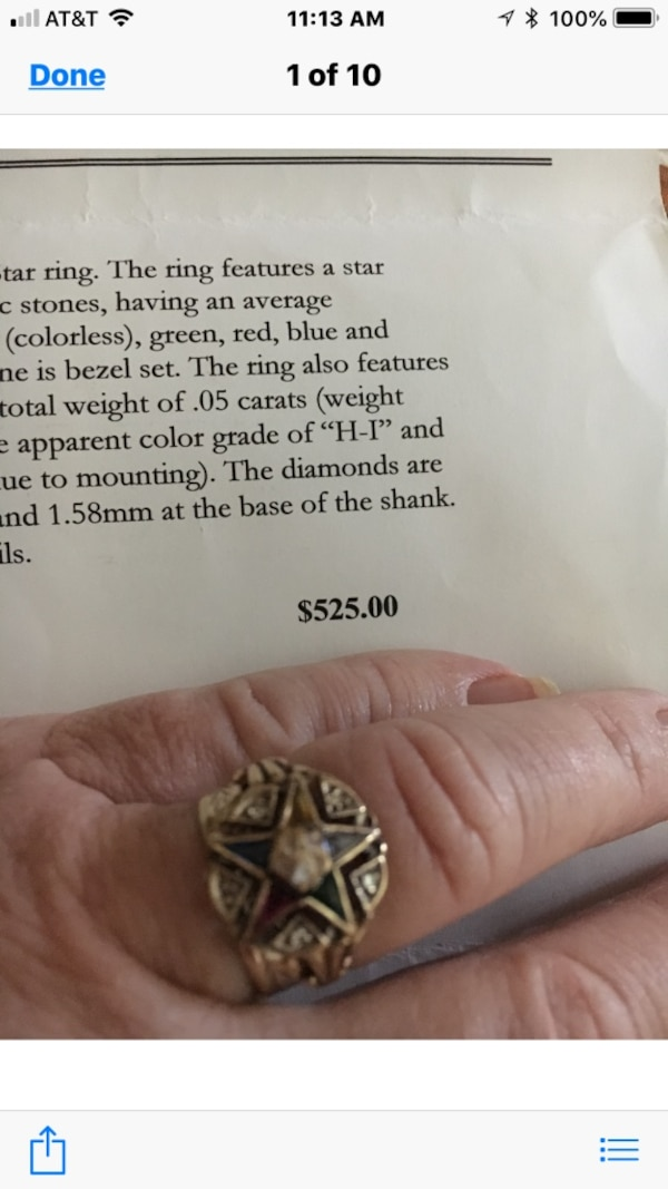 OES Eastern Star Ring