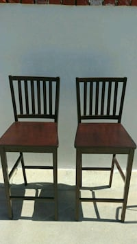 2 dark cherry wood bar stools Los Angeles, 90045