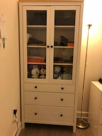 Used Ikea Hemnes Glass Door Cabinet With 3 Drawers For Sale In Los