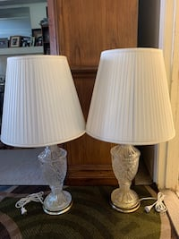 2 Glass Crystal lamps.  31 inches tall. $60 for both.