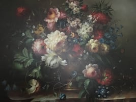 Beautiful still life - Large framed oil on canvas