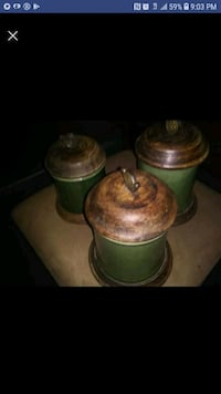 3 piece green and brown ceramic vase  Winchester, 40391