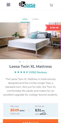 Brand new in box Leesa Twin xl mattress Germantown