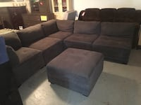 black suede sectional couch with ottoman Sunbury, 17801