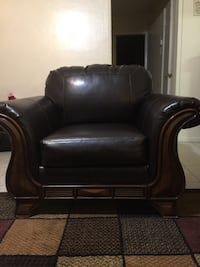 black leather sofa chair with ottoman Lancaster, 93536