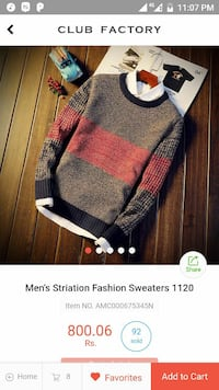 men's gray, red, and black long-sleeved sweater screenshot