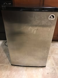 Gray and black single-door refrigerator