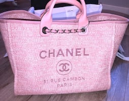 Chanel deauville large tote pink