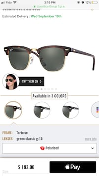 Clubmaster Classic Ray Ban sunglasses Montreal