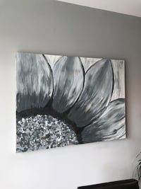 gray and white flower painting