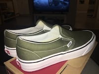 Brand new green vans slip on  sneakers with box. Only bought them a week ago. Vancouver, V6E 3Z6