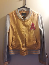 yellow and gray letter A-printed letterman jacket Escondido