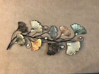black and gray floral wall decor