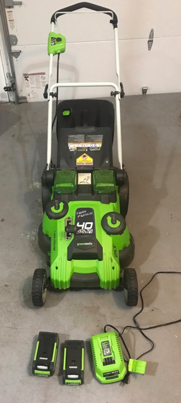 """Greenworks Lawn Mower cordless 20"""" twin force dual blade"""