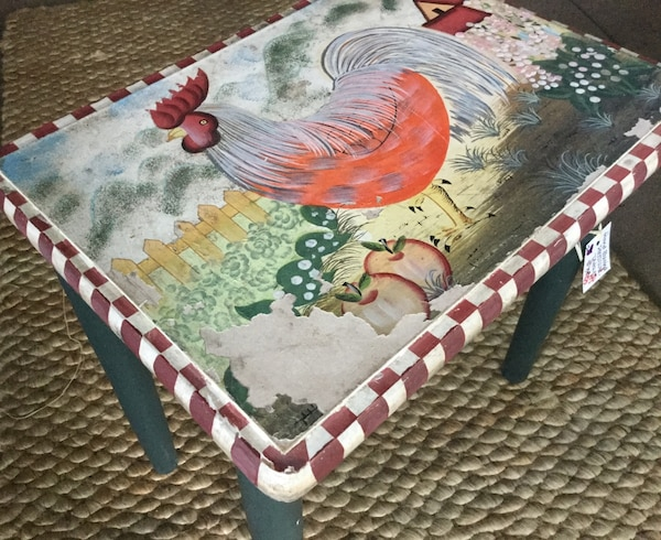 Sensational Hand Painted Chicken Rooster Accent Table Farmhouse Cottage Shabby Chic Trend Home Interior And Landscaping Palasignezvosmurscom