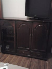 brown wooden cabinet with shelf 144 mi