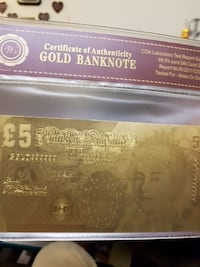 Certificate of Authenticity Gold Banknote 5 English Pounds Vancouver, V5M 3X7