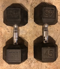 TSA 45 lb. Rubber Coated Hex Dumbbell Weight Set Baltimore