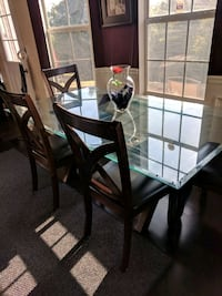 Rectangular glass top table w/ 4 chairs dining set Covington, 30016