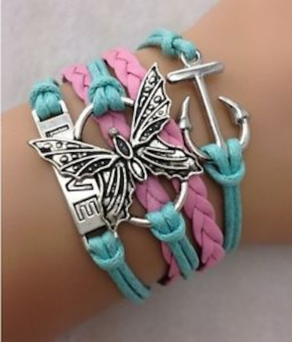 NEW Infinity Love Butterfly Anchor Leather Charm Bracelet plated Silver