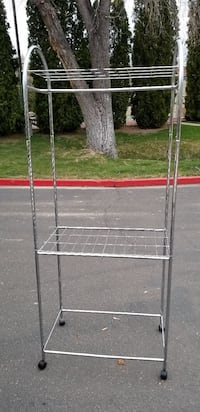 grey stainless steel utility rack