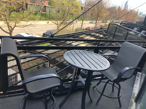 Used Patio Furniture High Top Table With Two Chairs Barely For In Chicago