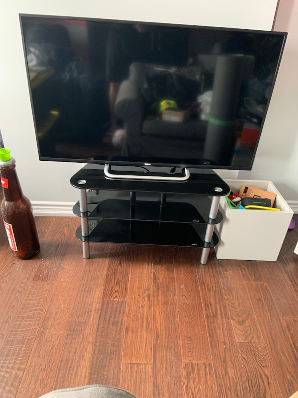 Used 50 Inch Rca Tv With 3 Shelf Glass Tv Stand For Sale In