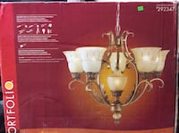 Portfolio Six Light Antique Silver Chandalier 325 mi