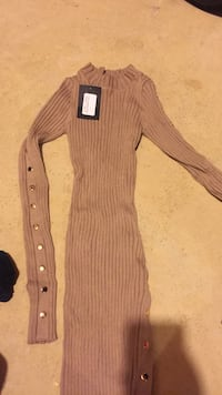 brown turtle neck long-sleeved maxi dress 44 km