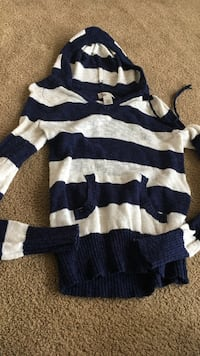 blue and white striped pullover hoodie sweater Evansville, 82636