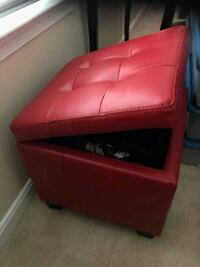 red leather padded ottoman chair 65 km