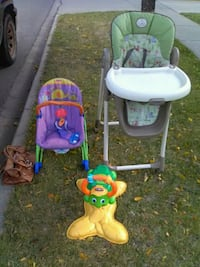 Fisher Price rocker, highchair and ride on toy Lethbridge, T1H 4T7